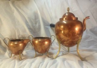 Antique Swedish Copper And Brass Tea Pot Set With Creamer & Sugar.  C.  1880 - 1890 photo