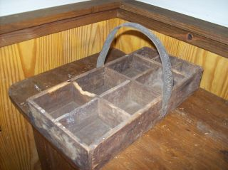 Vintage Wooden Handmade Carrying Tote / Tool Box photo