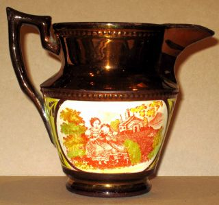 Museum Quality Early 1800s Staffordshire Copper Luster Jug Pitcher Creamer photo