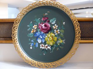 Gorgeous Vintage Round Hand - Painted Toleware Tray (florals) Nashco Products,  Ny photo