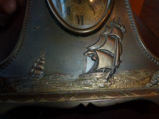 Rare Antique Art Nouveau Deco Bronze Clock Mantle Ship Ships Sailboat photo
