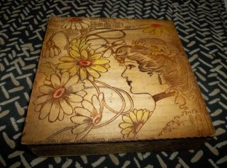 Excellent Vtg Art Nouveau Pyrography Hankie Handkerchief Or Trinket Jewelry Box photo