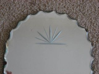 Gorgeous Old Wall Mirror Scalloped Cut All Around Arched Top Etching Small photo