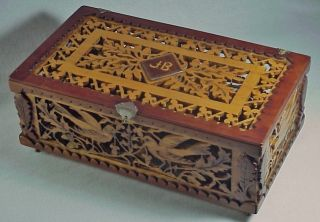 Antique Victorian American Wood Fretwork Carved Jewel Box Rare Birds & Oak Leaf photo