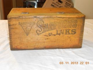 Antique Wood Box With Tongue & Groove Joinery Sanford ' S Premium Writing Fluid photo