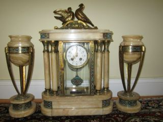 Antique Marble Clock With Two Garnitures Signed By L.  Carvin photo
