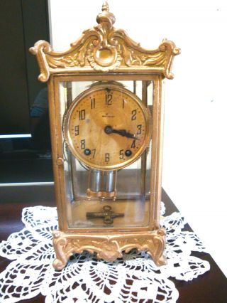 Antique New Haven Case Clock Crystal Regulator Ornate Rocco Case C1880 ' S photo