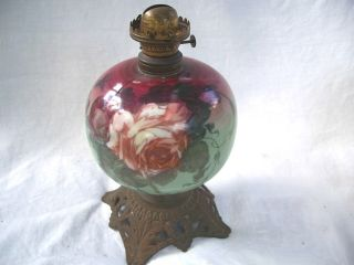 Antique Hand Painted Glass Oil Lamp W/ Dated Burner 1868 & 1857 Stampped Base photo