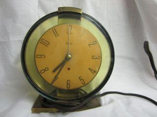 Antique Brass Westclox Oracle Art Deco Electric Desk Clock Works photo