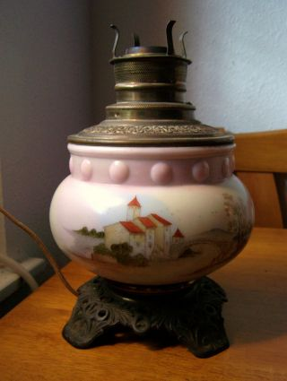 Antique Hand Painted Pale Pink Milk Glass Oil Lamp Base Wired For Electric photo