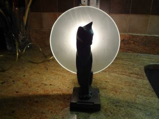 Awesome Vintage Unique Heavy Night Light Cat Figurine Moon Cat Lover Lamp Great photo