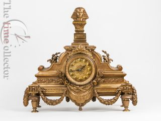 Egyptian Revival Gilt Bronze Mantel Clock With Etienne Maxant Movement photo