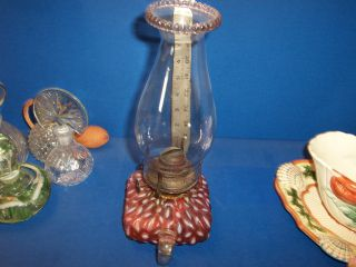 Square Cranberry Oil Lamp Banner Burner Applied Clear Handle photo