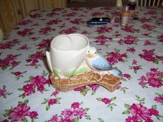 Vintage Porcelain Ceramic Pottery Darling Bluebird Bird Figurine/planter photo