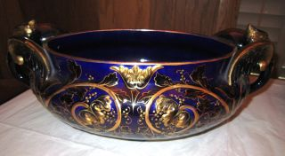 Antique Cobalt Gilt Decorated Console Bowl W/ Griffin Phoenix Handles Mtc Estate photo