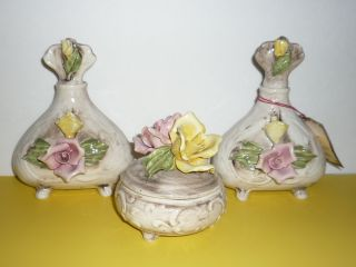 Capodimonte Dresser Set,  Powder/trinket Box,  Bottles,  Made In Italy With Tag photo