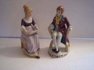 Vintage Victorian Figurines Seated Lady Reading Man Listening Gold Castle Japan photo