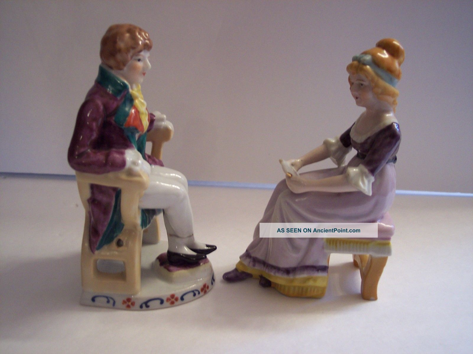 Vintage Victorian Figurines Seated Lady Reading Man