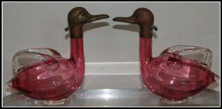 Pair Of Unusual Antique Austrian Cranberry Glass Duck Decanters Nr photo