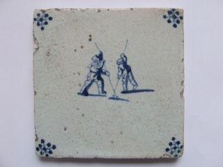 A Delft Children Play Tile With 2 Boys Pole - Jump ++++++ photo