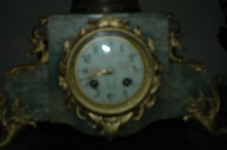 19th Century French Figural Clock And Candleabra La Cueillette photo