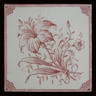 Lovely Hand Transfer Print Antique Art Nouveau Ceramic Tile - Cranberry Red Lily photo