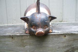 Antique Cast Iron Advertising Pig Boot Scraper Paint photo