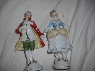 German Porcelain Colonial Couple Figurines Antique photo