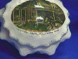 Antique Souvenir Trinket Porcelain Box - Mt.  Clemens Mi - Crystal House - Germany photo