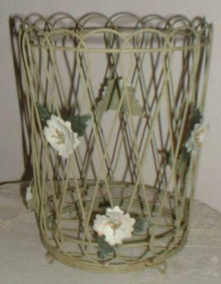 Vintage Shabby French Tole Wastebasket photo