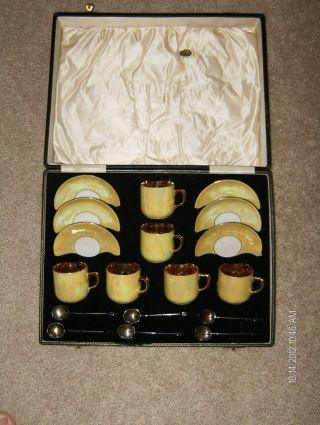 Antique British Porcelain Demitasse Set With 6 Silver Spoons photo
