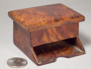 Antique Burl Wood Stamp Box 1800s Rosewood Walnut Mystery photo