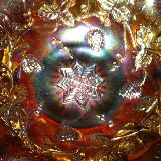 Millersburg Carnival Glass 8.  5 Inch Grape Wreath Variant Bowl - Amethyst photo
