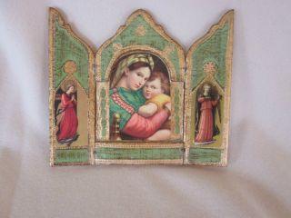Vintage Florentine Triptych Virgin And Child,  Angels Charming photo