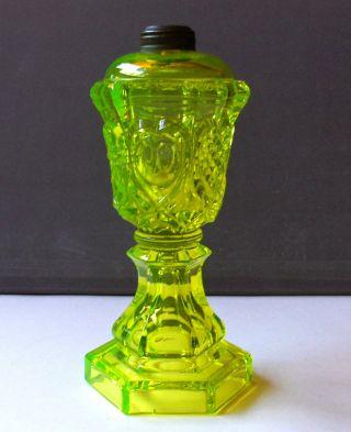 Vintage Antique Vaseline Glass Whale Oil Lamp Base W/ Pressed Pattern photo