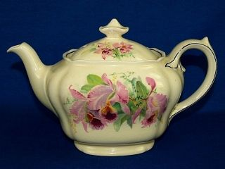 Royal Doulton Orchid Flowers Teapot D 5215 Vintage 1930s England China Tea Pot photo