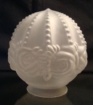 Antique Glass Ball Lamp Shade Satin Embossed Roses 2 1/2 Inch Fitter Chipped photo