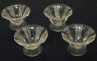 4 Vintage Glass Individual Salts Open Salt Cellar Dips Set photo
