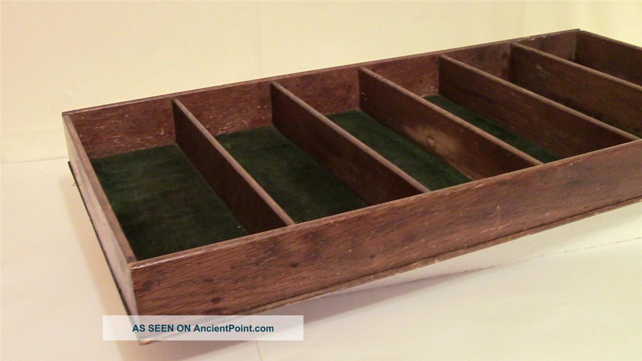 Antique Oak Wood Silverware Flatware Buffet Drawer Insert Storage ...