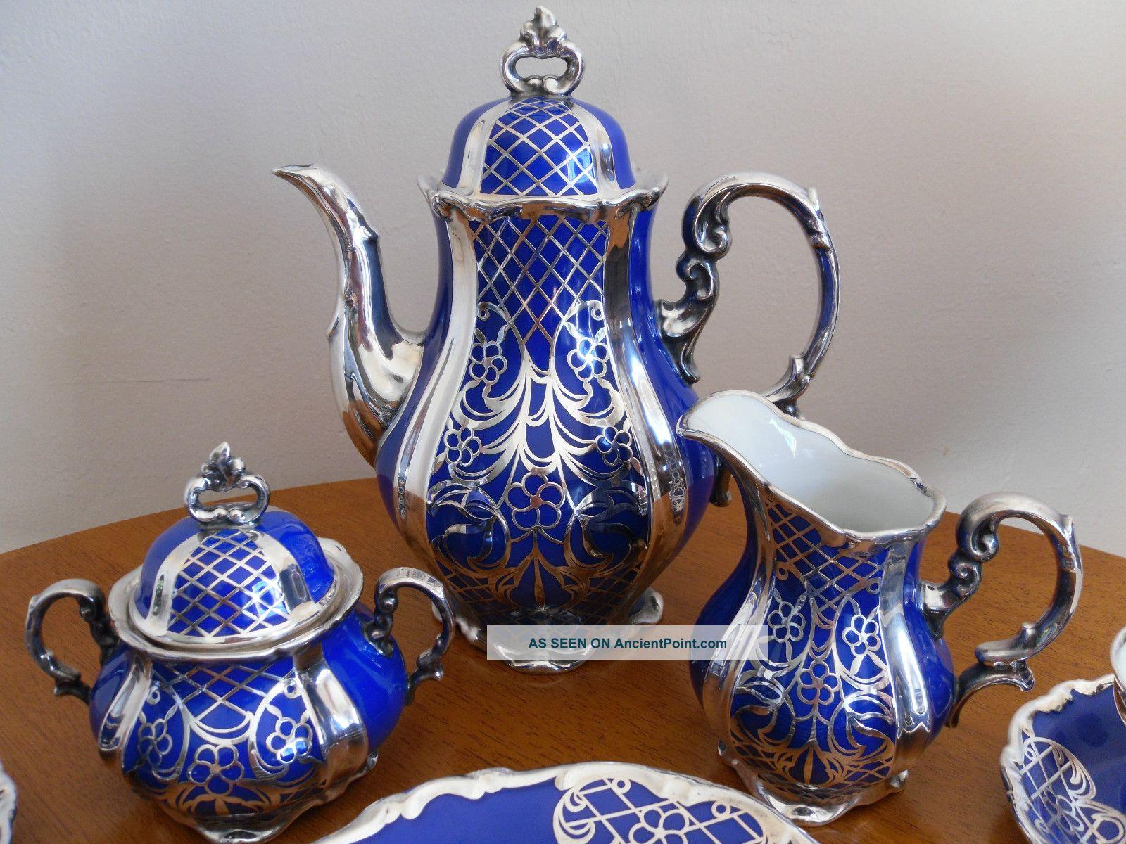 Vintage Hertel Jacob Co Bavaria Germany Sterling Silver On Porcelain Tea Set Teapots & Tea Sets photo