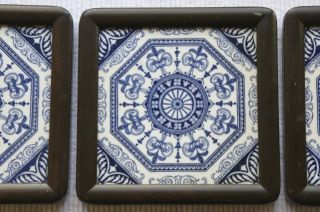 3 Antique Blue And White Tiles Framed Geometric Very Good Condition photo