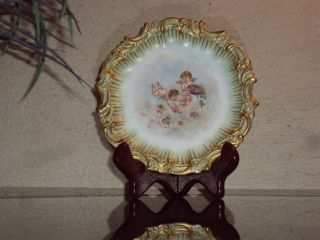 Rare Tressemanes & Vogt Limoges Hand Painted Art Plate W/ Cherubs Birds - Signed photo