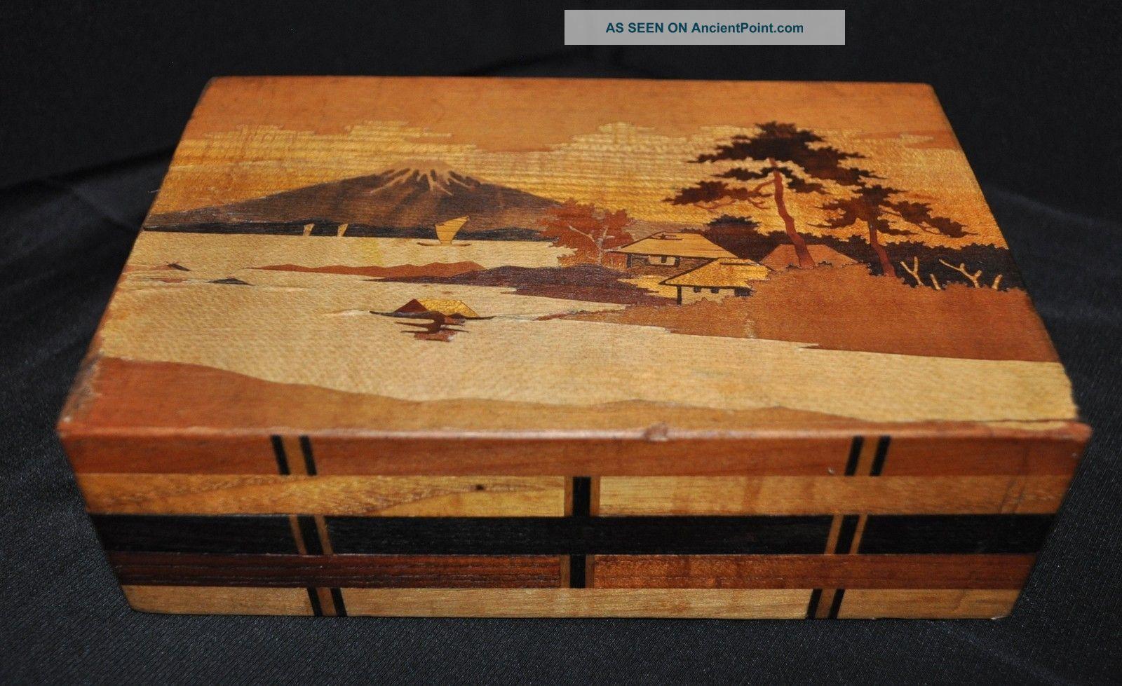 Unique Vintage Asian Box Wood Box With Secret Opening Box 7 X 4 1 2 X 2 1 4
