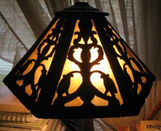 Vtg Antique Slag Glass Shade Handel Tiffany Era Arts&crafts Art Nouveau Bronze photo