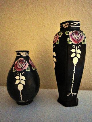 1912 Shelley Lovely Art Nouveau Black With Handpainted Roses Porcelain Vases photo