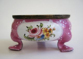 Pink Battersea/bilstoy Enameled Metal Open Salt With Floral Panels - 1780 photo