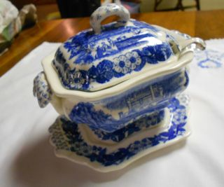 Tureen For Sauce White And Blue Scene Of Castle And River Boats 4 Pieces photo