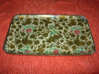 Vintage Oriental Paper Mache Gilded Gold Chintz Tray Made In Japan photo