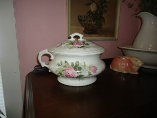 Pink Cabbage Roses Antique Chamber Pot Crown Mark photo