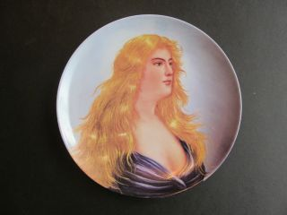 French 24 Karat Gold Hand Painted Portrait Porcelain Plate photo
